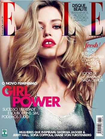 Capa Revista ELLE Modelo com Dentes Separados (diastema)